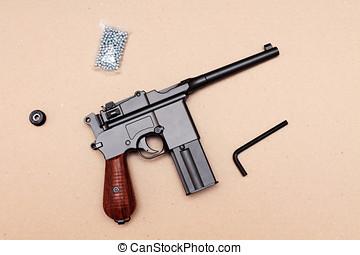 officer's, pistola,  Clip, pistola, vendimia