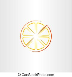 cutted half orange icon vector design
