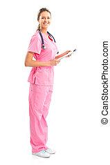 Nurse - Smiling medical nurse with stethoscope. Isolated...