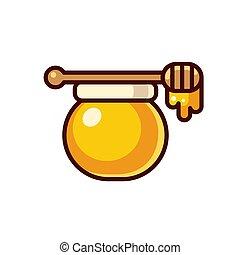 Honey jar icon - Honey jar with wooden spoon vector...
