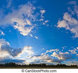 藍色, 全景, 晚上, 天空