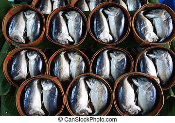 Mae Klong Mackerel fish sold on market, Mea Klong