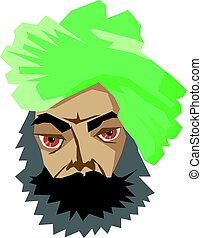 indian man in turban - vector illustration of indian man in...