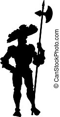 armoured medieval knight - silhouette of armoured medieval...