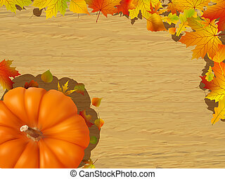Fall leaves making a border with pumpkin