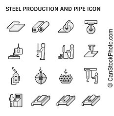 Pipe production icon - Steel production and pipe vector icon...
