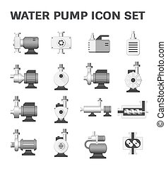 water pump icon - Vector icon of electric water pump and...