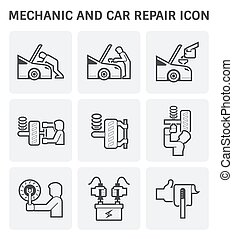mechanic car icon - Mechanic and car repair service vector...
