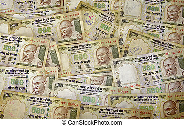 Indian Currency - A scattering of 500 ruppee notes