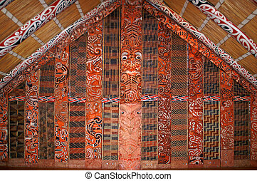 Inside a Maori Meeting House, Auckland, New Zealand