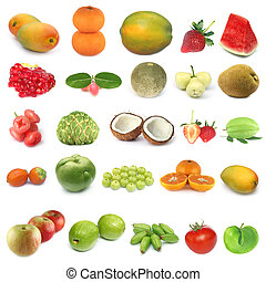 Fruit collection over white background