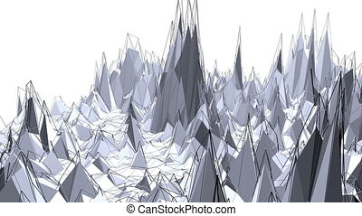 Abstract simple black and white low poly waving 3D surface...