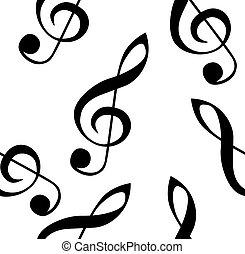 Abstract music seamless pattern background with treble clef