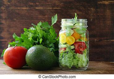 蔬菜, 玻璃, 罐子, 沙拉, 新鮮