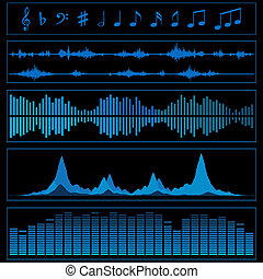 Music background - Notes and sound waves