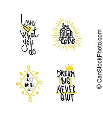 Posters Quotes Set - Color inspirational vector illustration...
