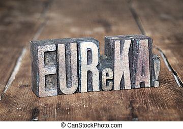 eureka word wood - eureka exclamation made from wooden...