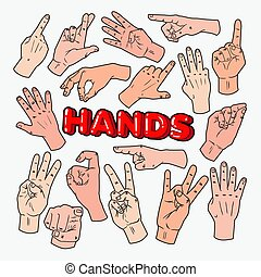 Pop Art Male Hands Gesturing Different Signs. Vector illustration