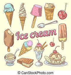 Ice Cream Hand Drawn Doodle with Cone, Cherry and Chocolate. Sweet Food. Vector illustration
