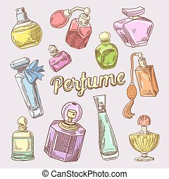 Perfume and Cosmetics Hand Drawn Doodle with Different Bottles. Vector illustration