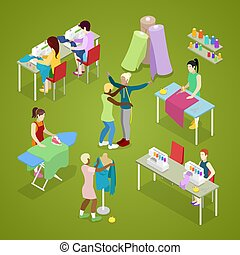 Isometric Dressmaker Salon Atelier with Tailor. Sewing and...