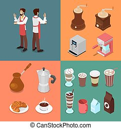 Isometric Bartender and Cafe Elements Set with Coffee Machine and Hot Beverages. Vector illustration