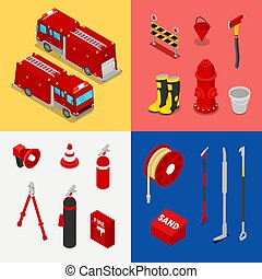 Isometric Fireman Equipment with Tank Truck and Hydrant. Vector illustration