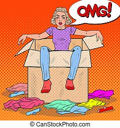 Pop Art Stressed Woman in the Box with Different Clothes....