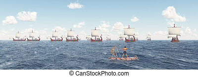 Man on a raft and ancient Roman warships - Computer...