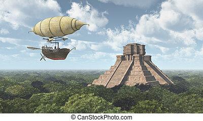 Fantasy airship and Mayan temple - Computer generated 3D...