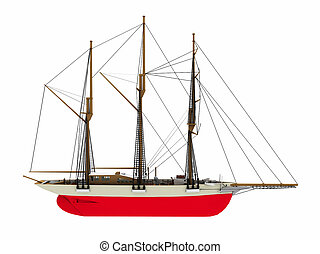 Gaff schooner isolated on white background - Computer...