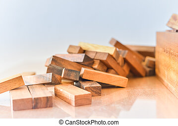 Building wood toy.