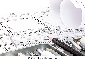 different drawing tools for designer on architectural drawing of apartment