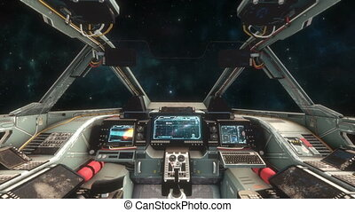 Spaceship Cockpit Interior - Space Travel - Great shot of...