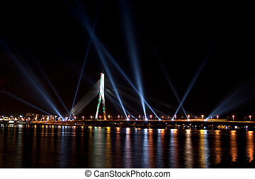 The light festival Staro Riga (Beaming Riga) - RIGA, LATVIA...