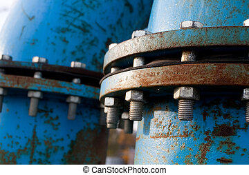 Blue pipelines - Industrial blue pipelines joint with bolts...