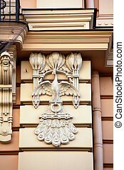 Detail of Art Nouveau or Jugenstil building - Detail of Art...