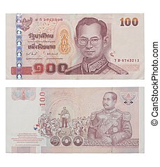 hundred baht note isolated on white - Thailand money
