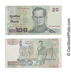 twenty baht note isolated on white - Thailand money