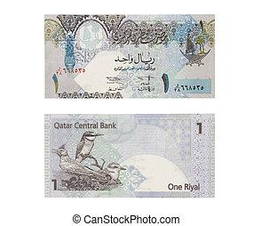 one riyal Qatar - Qatar one riyal isolated on white - front...