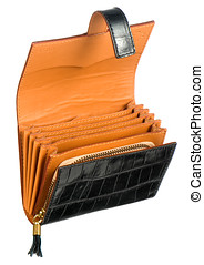 Open leather wallet or purse with a concertina design giving...