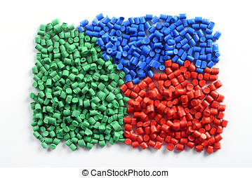 Colorful collection of molded plastic pellets or granules...