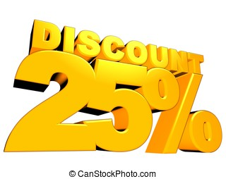 25% discount - 3D render of 25 percent discount sign with...