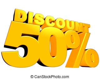 50% discount - 3D render of 50 percent discount sign with...