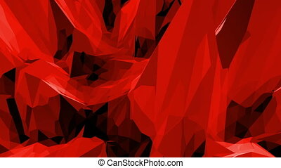 Abstract waving red low poly surface as digital background...
