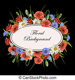Floral vector background - Oval frame and wild flowers on...