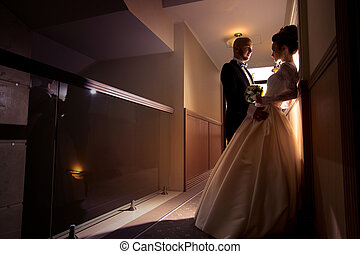 portrait of young just merried couple