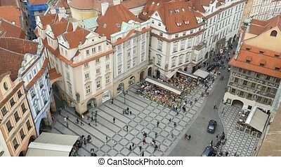 Amazing Old Town Square shot from up down perspective in...