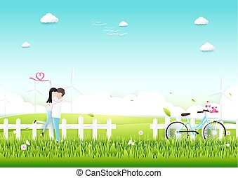 Paper art, Couple with bicycle in garden romantic love concept. Valentines day background