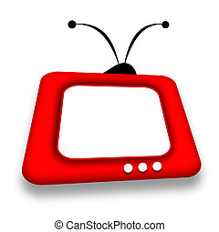 TV - Friendly childly red TV box with blank screen over...